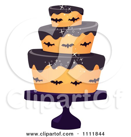 Clipart Three Tiered 50th Birthday Cake With Bats And ...