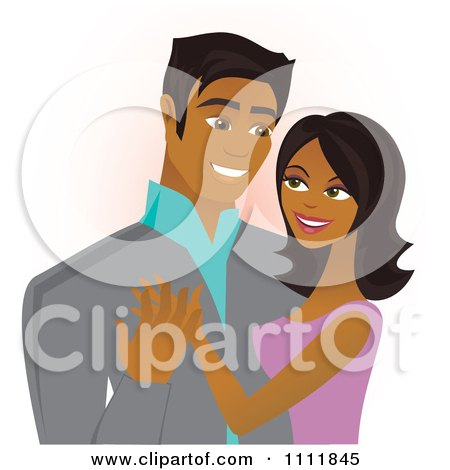 Clipart Happy Black Couple Embracing And Smiling - Royalty Free Vector Illustration by Amanda Kate