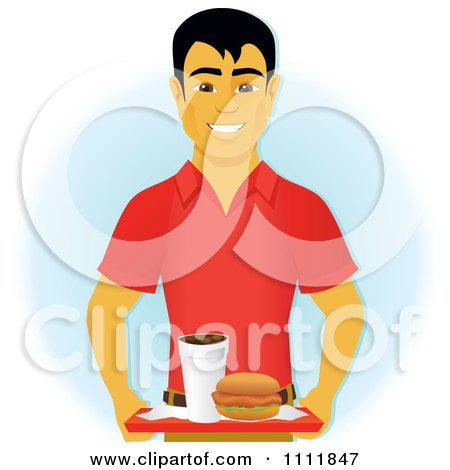 Clipart Happy Asian Man Carrying A Chicken Sandwich And Drink On A Cafeteria Tray - Royalty Free Vector Illustration by Amanda Kate