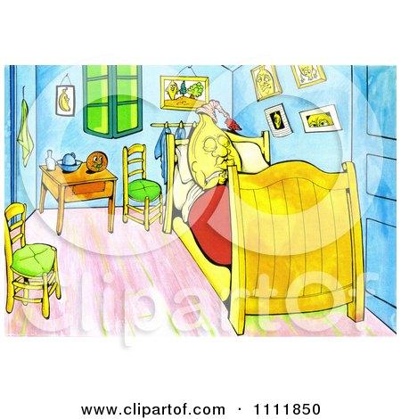 Banana Sleeping In A Bed Van Gogh Style Posters, Art Prints