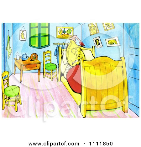 Clipart Banana Sleeping In A Bed Van Gogh Style - Royalty Free Illustration by Prawny