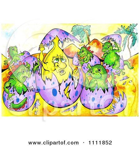 Clipart Banana Hatching From An Egg With Baby Dinosaurs - Royalty Free Illustration by Prawny