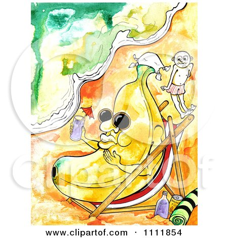Clipart Banana Relaxing On A Beach With A Cocktail - Royalty Free Illustration by Prawny