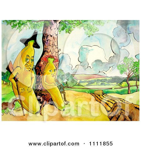 Clipart Banana And Wife With A Gun And Dog - Royalty Free Illustration by Prawny