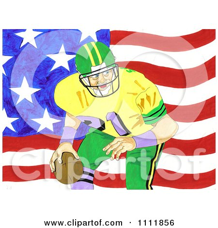 Clipart Football Player Over An American Flag 1 - Royalty Free Illustration by Prawny