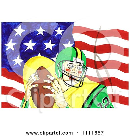 Clipart Football Player Over An American Flag 2 - Royalty Free Illustration by Prawny