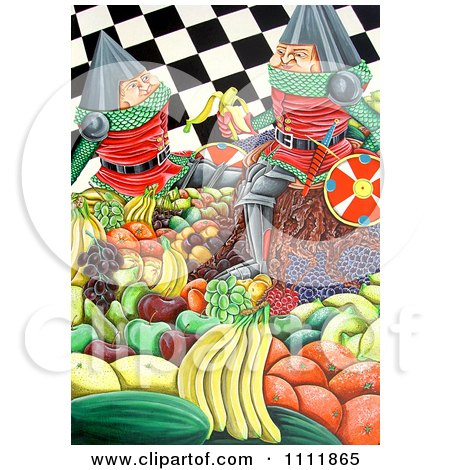 Clipart Soldiers Eating Fruits Over A Checkered Pattern - Royalty Free Illustration by Prawny