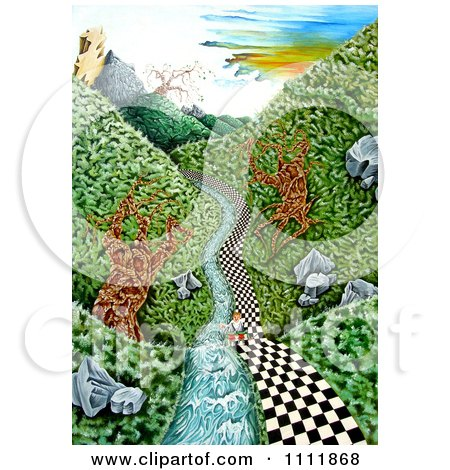 Clipart Soldier On A Checkered Path Along A Stream - Royalty Free Illustration by Prawny