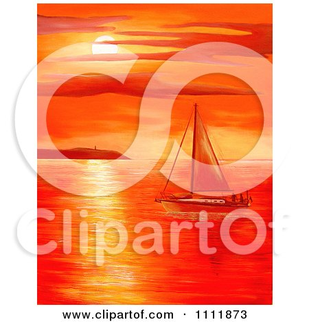 Clipart Red Coastal Sunset Over A Sailboat At Sea - Royalty Free Illustration by Prawny