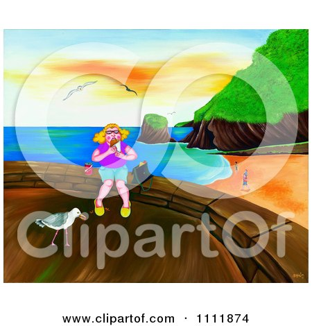 Clipart Woman Eating Lunch Above A Beach - Royalty Free Illustration by Prawny