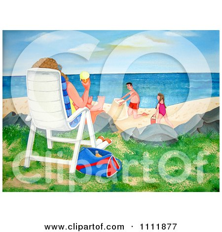 Clipart Person On A Beach Chair With Ice Cream And A View Of Children Making A Sand Castle - Royalty Free Illustration by Prawny