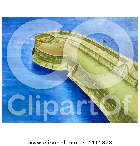 Clipart People Fishing On A Coastal Pier - Royalty Free Illustration by Prawny
