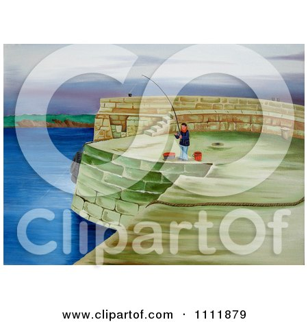 Clipart Man Fishing On A Coastal Pier - Royalty Free Illustration by Prawny