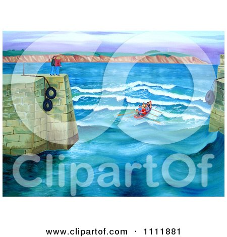 Clipart Rowing Club Entering A Harbor - Royalty Free Illustration by Prawny