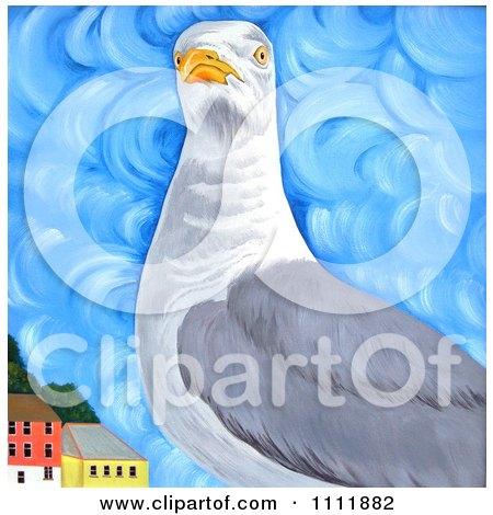 Clipart Seagull Near Coastal Buildings - Royalty Free Illustration by Prawny
