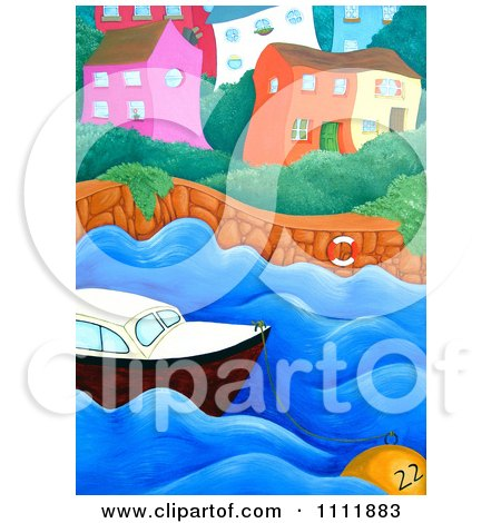 Clipart Wiggly Coastal Village With A Boat And Buoy - Royalty Free Illustration by Prawny