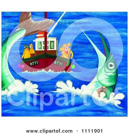 Clipart Woman And Men Deep Sea Fishing And Catching A Giant Fish - Royalty Free Illustration by Prawny