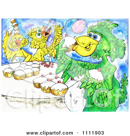 Clipart Birds Eating Cupcakes - Royalty Free Illustration by Prawny