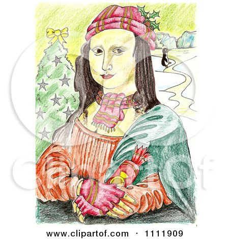 Clipart Christmas Mona Lisa Holding A Cracker - Royalty Free Illustration by Prawny