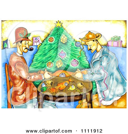 Clipart Men Pulling Christmas Crackers - Royalty Free Illustration ...