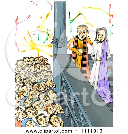 Clipart Mob Shouting Crucify Him To Judge Pilate With Jesus At His Trial - Royalty Free Illustration by Prawny