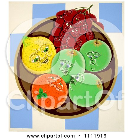 Clipart Fruit Talking In A Bowl - Royalty Free Illustration by Prawny