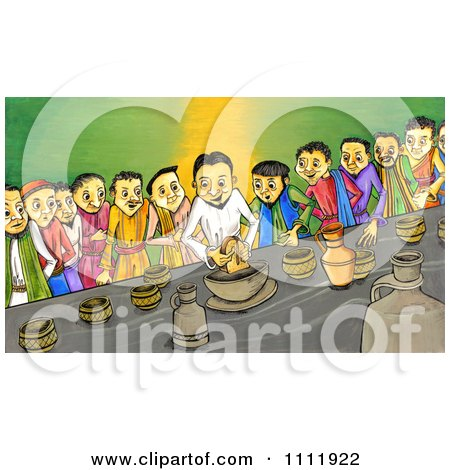 Clipart People Breaking Bread At The Last Supper - Royalty Free Illustration by Prawny