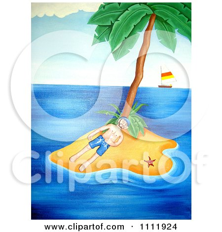 Clipart Castaway Marooned On A Tropical Island - Royalty Free Illustration by Prawny