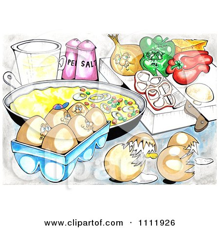 Clipart Eggs And Veggies By An Omelet In A Pan - Royalty Free Illustration by Prawny