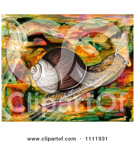 Clipart Snail On An Abstract Background - Royalty Free Illustration by Prawny