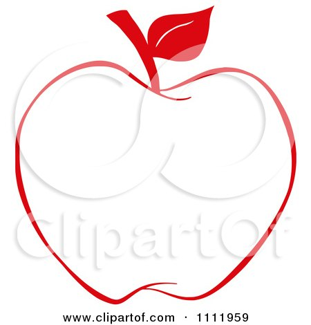 Clipart Red Apple Outline 1 Royalty Free Vector