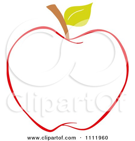 Red Apple Outline 2 Posters Art Prints By Hit Toon