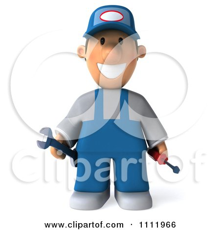 Clipart 3d Mechanic Guy With Tools - Royalty Free CGI Illustration by Julos