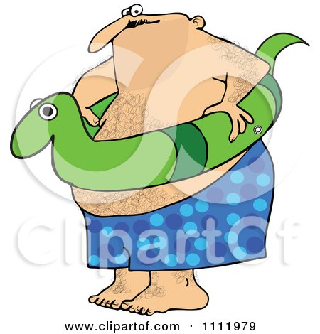 Clipart Chubby Hairy Man With A Snake Inner Tube - Royalty Free Vector Illustration by djart