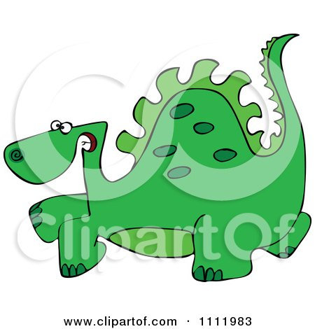 Clipart Green Scared Dinosaur - Royalty Free Vector Illustration by djart