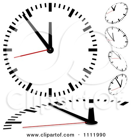 Clipart Black And White Wall Clocks With Red Second Hands - Royalty Free Vector Illustration by dero