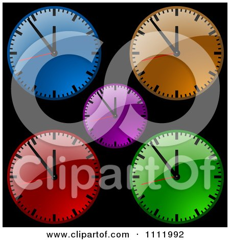 Clipart Colorful Dial Wall Clocks On Black - Royalty Free Vector Illustration by dero