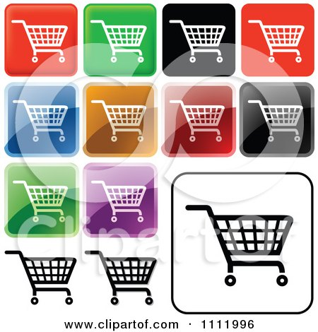 Clipart Colorful Square Shopping Cart Icons - Royalty Free Vector Illustration by dero