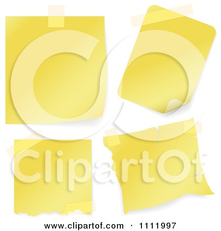 Clipart 3d Yellow Notes With Tape - Royalty Free Vector Illustration by dero
