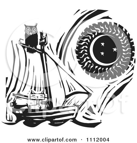 Clipart Owl Perched Atop A Cat In A Sailboat Against A Sun And Moon Black And White Woodcut - Royalty Free Vector Illustration by xunantunich