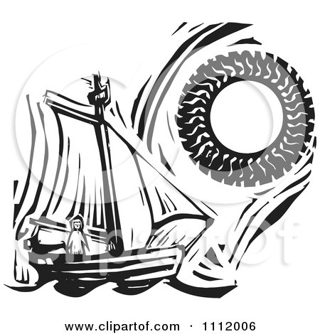 Clipart Lone Girl On A Sailboat Under A Blazing Sun Black And White Woodcun - Royalty Free Vector Illustration by xunantunich