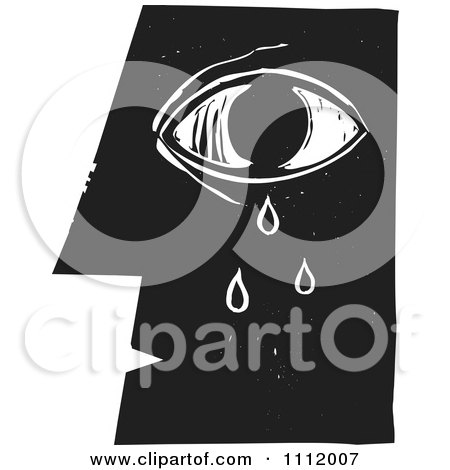 Clipart Crying Eye And Face In Profileblack And White Woodcut - Royalty Free Vector Illustration by xunantunich