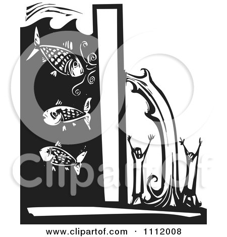 Clipart Water Breaking Through A Levee And Pouring Over People Black And White Woodcut - Royalty Free Vector Illustration by xunantunich