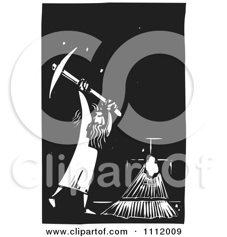 Man Breaking Through A Wall With A Pick Axe Black And White Woodcut Posters, Art Prints