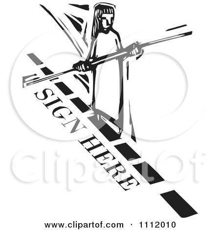Clipart Woman Balancing And Walking A Sign Here Dotted Line Tight Rope Black And White Woodcut - Royalty Free Vector Illustration by xunantunich