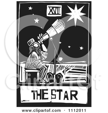 Clipart The Star Astronomer Tarot Card Black And White Woodcut - Royalty Free Vector Illustration by xunantunich