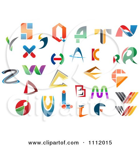 Clipart Abstract Colorful Letters A Through Z 8 - Royalty Free Vector Illustration by Vector Tradition SM