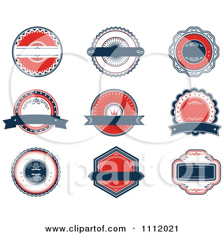 Clipart Red White And Blue Banners And Retro Labels - Royalty Free Vector Illustration by Vector Tradition SM