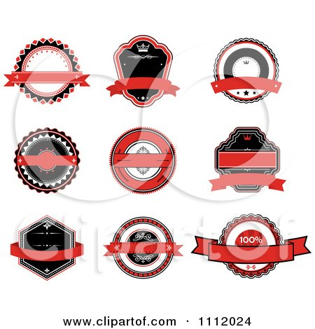 Clipart Red Black And White Labels - Royalty Free Vector Illustration by Vector Tradition SM
