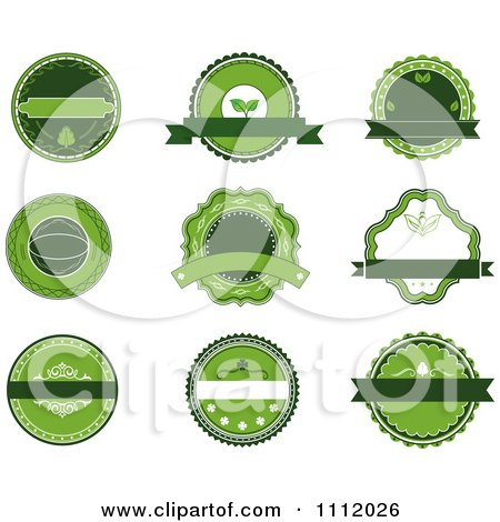 Clipart Green Organic Labels - Royalty Free Vector Illustration by Vector Tradition SM
